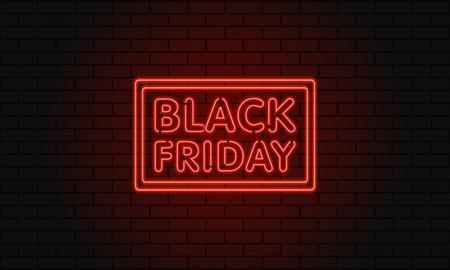 Dunkle Web-Banner für Black Friday-Verkauf. Moderne rote Neonanschlagtafel auf Backsteinmauer. Konzept der Werbung für Saisonangebot mit glühendem Neontext