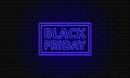 暗い黒い金曜日販売用バナー。レンガの壁にモダンなネオン青い看板。輝くネオン テキストと季節的な提供のための広告の概念。