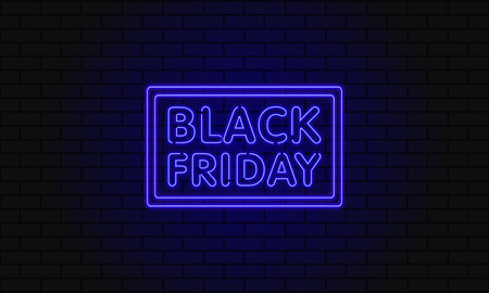 Dark web banner for black Friday sale. Modern neon blue billboard on brick wall. Concept of advertising for seasonal offer with glowing neon text.