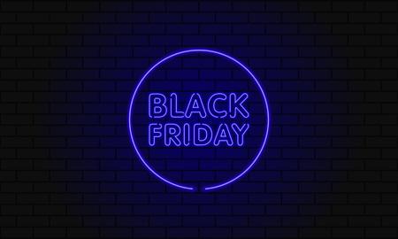 Banner web oscuro para venta de viernes negro. Cartelera azul de neón del círculo moderno en la pared de ladrillo. Concepto de publicidad de oferta estacional con texto de neón brillante. Foto de archivo - 89713331
