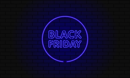 Dark web banner for black Friday sale. Modern circle neon blue billboard on brick wall. Concept of advertising for seasonal offer with glowing neon text.