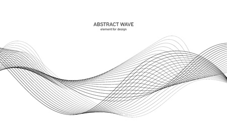 Abstract wave element for design. Digital frequency track equalizer. Stylized line art background. Vector illustration. Wave with lines created using blend tool. Curved wavy line, smooth stripe.