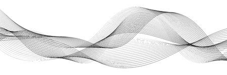 Elemento onda astratta per il design. Equalizzatore digitale della traccia di frequenza. Sfondo di arte linea stilizzata. Illustrazione vettoriale. Onda con linee create usando lo strumento di fusione. Linea ondulata curva, striscia liscia Vettoriali