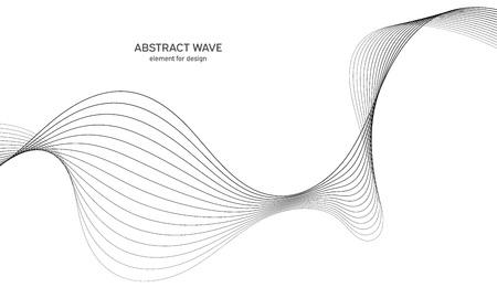 Abstraktes Wellenelement für Design. Digitaler Frequenzspur-Equalizer. Stilisierter Strichgrafikhintergrund. Vektorillustration. Welle mit Linien, die mit dem Mischwerkzeug erstellt wurden. Geschwungene Wellenlinie, glatter Streifen Vektorgrafik