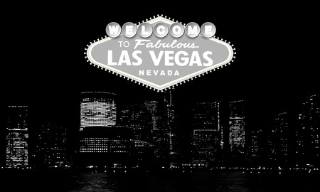 Welcome to Fabulous Las Vegas Nevada. Classic retro Welcome to Las Vegas sign on big city background. Simple modern vector style illustration. Black and white. Ilustração