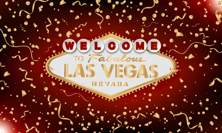 Classic retro gold Welcome to Las Vegas sign on red background. Happy background. Simple modern vector style illustration. Vector colourful serpentine and confetti  イラスト・ベクター素材
