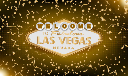 Classic retro gold Welcome to Las Vegas sign on gold background. Happy background. Simple modern vector style illustration. Vector colourful serpentine and confetti