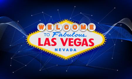 Rétro classique Bienvenue à Las Vegas signe sur fond coloré. Illustration de style vecteur moderne simple. Bleu