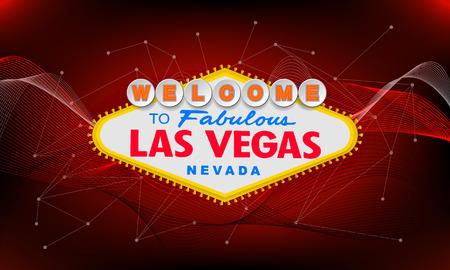 Rétro classique Bienvenue à Las Vegas signe sur fond coloré. Illustration de style vecteur moderne simple. rouge