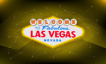 Classic retro Welcome to Las Vegas sign on colorful background. Simple modern vector style illustration. Ilustração
