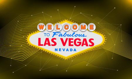 Rétro classique Bienvenue à Las Vegas signe sur fond coloré. Illustration de style vecteur moderne simple.