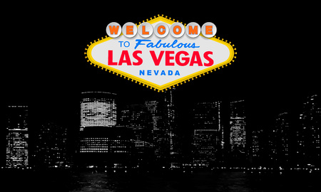 Welcome to Fabulous Las Vegas Nevada. Classic retro Welcome to Las Vegas sign on big city background. Simple modern vector style illustration. Colour