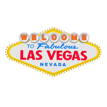 Classic retro Welcome to Las Vegas sign. Simple modern flat vector style illustration.