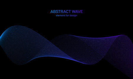 Abstract wave element for design. Digital frequency track equalizer. Stylized line art background. Colorful shiny wave with lines created using blend tool. Curved wavy line, smooth stripe Illustration