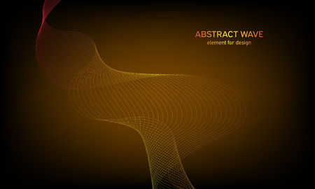 Abstract wave element for design. Digital frequency track equalizer. Stylized line art background. Colorful shiny wave with lines created using blend tool. Curved wavy line, smooth stripe Vectores