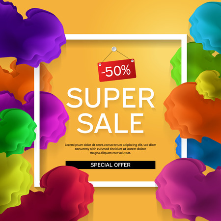 Sale banner for online shopping, magazines, websites and advertising actions. Spring. Vector illustration