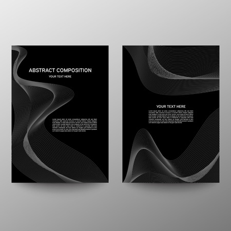 Brochure design a4. Abstract composition. Information banner. A set of page. Modern vector page. Ad flange. Abstract wave element for design. Black and White Ilustrace
