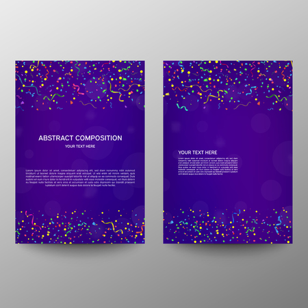Brochure design a4. Information banner. A set of page. Modern vector page. Ad flange. Celebration. Vector serpentine and confetti on colourful background Ilustrace