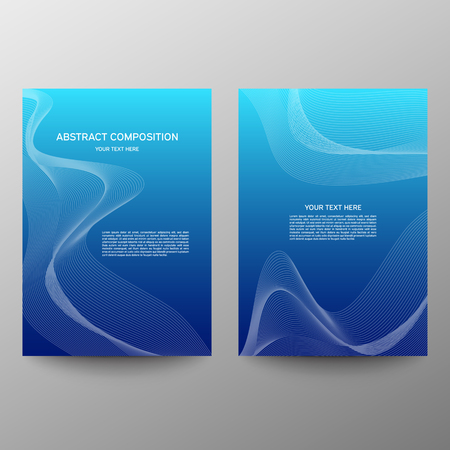 Brochure design a4. Abstract composition. Information banner. A set of page. Modern vector page. Ad flange. Abstract wave element for design. Blue