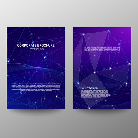 Purple a4 brochure cover design. Patch info banner frame. Modern vector front page. Polygonal texture. Ad flyer fiber. Abstract composition. Information banner. A set of page. Dots and lines