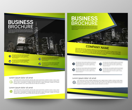 Business brochure flyer design template. Annual report. Leaflet cover presentation abstract geometric background, modern publication poster magazine, layout in A4 size. Set. Green. Vector eps10.