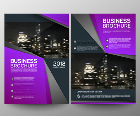Business brochure flyer design template. Annual report. Leaflet cover presentation abstract geometric background, modern publication poster magazine, layout in A4 size. Set. Purple. Vector eps10.