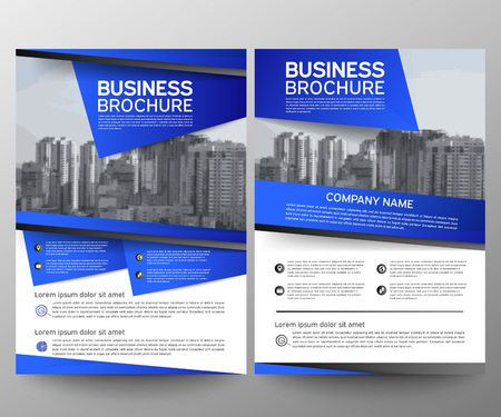 Business brochure flyer design template. Annual report. Leaflet cover presentation abstract geometric background, modern publication poster magazine, layout in A4 size. Set. Blue. Vector eps10. Ilustrace