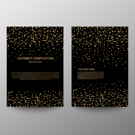 Brochure design a4. Vector gold serpentine and confetti on black background. Information banner. A set of page. Modern vector page. Ad flange. Celebration