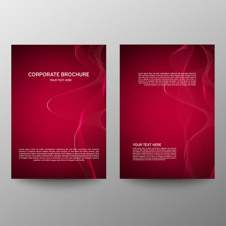 Brochure design a4. Abstract composition. Information banner. A set of page. Modern vector page. Ad flange. Abstract wave element for design. Red