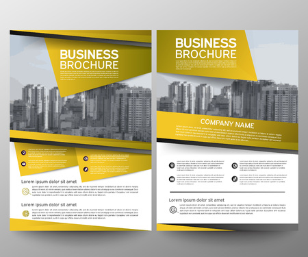 Business brochure flyer design template. Annual report. Leaflet cover presentation abstract geometric background, modern publication poster magazine, layout in A4 size. Set. Yellow. Vector eps10. Ilustrace