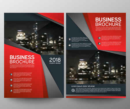 Business brochure flyer design template. Annual report. Leaflet cover presentation abstract geometric background, modern publication poster magazine, layout in A4 size. Set. Red. Vector eps10.