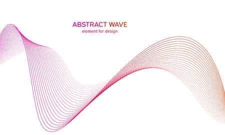 Abstract colorfull wave element for design. Digital frequency track equalizer. Stylized line art background.Vector illustration.Wave with lines created using blend tool.Curved wavy line,smooth stripe 免版税图像 - 123469203
