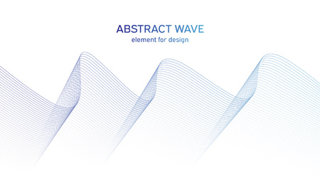 Abstract colorfull wave element for design. Digital frequency track equalizer. Stylized line art background.Vector illustration.Wave with lines created using blend tool.Curved wavy line,smooth stripe 免版税图像 - 123469223