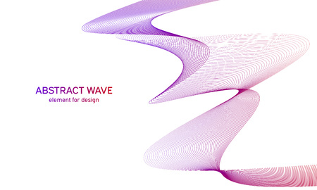 Abstract colorfull wave element for design. Digital frequency track equalizer. Stylized line art background.Vector illustration.Wave with lines created using blend tool.Curved wavy line,smooth stripe