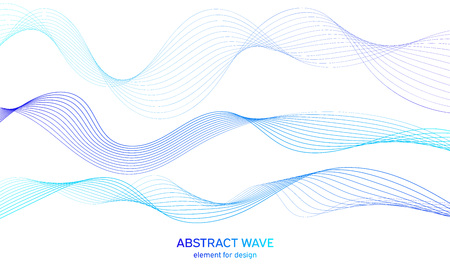 Élément abstrait de vague colorée pour la conception. Égaliseur de piste de fréquence numérique. Arrière-plan de l'art de la ligne stylisée. Illustration vectorielle. Vague avec des lignes créées à l'aide de l'outil de mélange. Ligne ondulée incurvée, bande lisse