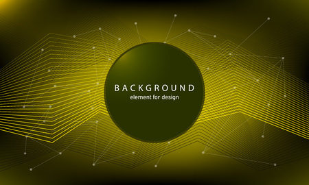 Technology background with abstract waves and connecting dots and lines. Circle with text. Vector illustration