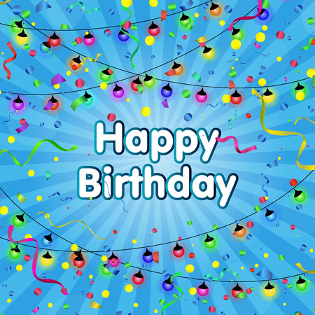 Celebration. Happy Birthday. Vector serpentine and confetti on colorful background. Vector illustration