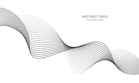 Abstract wave element for design. Digital frequency track equalizer. Stylized line art background. Vector illustration. Wave with lines created using blend tool. Curved wavy line, smooth stripe