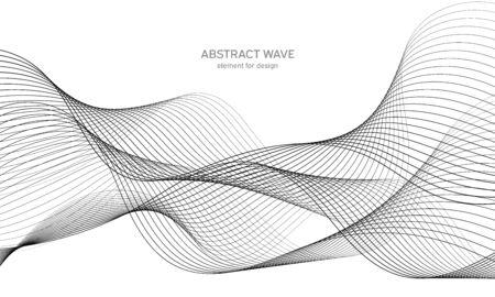 Elemento onda astratta per il design. Equalizzatore digitale della traccia di frequenza. Sfondo di arte linea stilizzata. Illustrazione vettoriale. Onda con linee create usando lo strumento di fusione. Linea ondulata curva, striscia liscia