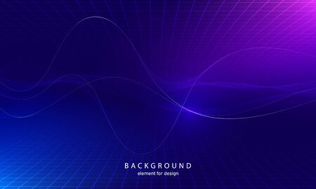 Abstract wave element with perspective mesh with depth of field effect for design. Grid. Digital equalizer. Stylized line art background. Colorful shiny waves with lines. Curved wavy line. Vector.