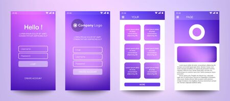 Design of mobile app, UI, UX, GUI. Set of user registration screens with login and password input, account sign in, sign up, home page. Modern Style. Minimal Application. UI Design Template. Interface.