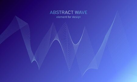 Abstract wave element for design. Digital frequency track equalizer. Stylized line art background. Colorful shiny wave with lines created using blend tool. Curved wavy line, smooth stripe Vector. Vectores