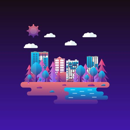 Vector illustration in trendy and modern flat style and bright vibrant gradient colors. Cityscape with a lot of sky scrapers in the park area. Tall buildings and business center. Background for banner. 向量圖像
