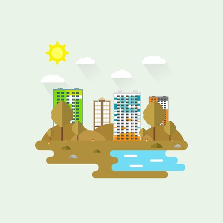 Cityscape with a lot of sky scrapers in autumn in the park area. Vector illustration in modern flat style. Buildings and business center. A autumn landscape across the tall buildings.