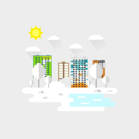 Cityscape with a lot of sky scrapers in winter in the park area. Vector illustration in modern flat style. Buildings and business center. A winter landscape across the tall buildings. 向量圖像