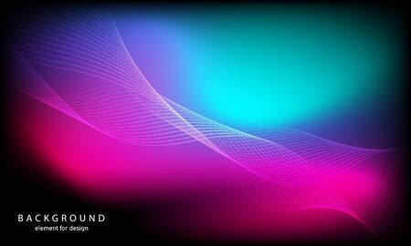 Abstract wave element for design. Digital frequency track equalizer. Stylized line art background. Colorful shiny wave with lines created using blend tool. Curved wavy line, smooth stripe Vector illustration.