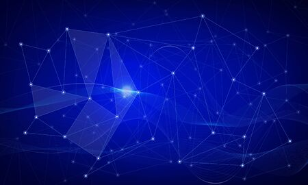 Abstract polygonal space low poly dark background with connecting dots and lines. Connection structure. Vector science background. Polygonal vector. Blue. Ilustración de vector