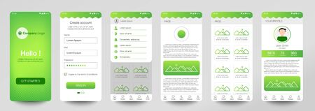 Design of mobile app, UI, UX, GUI. Set of user registration screens with login and password input, account sign in, sign up, home page. Modern Style. Minimal Application. UI Design Template. Green.