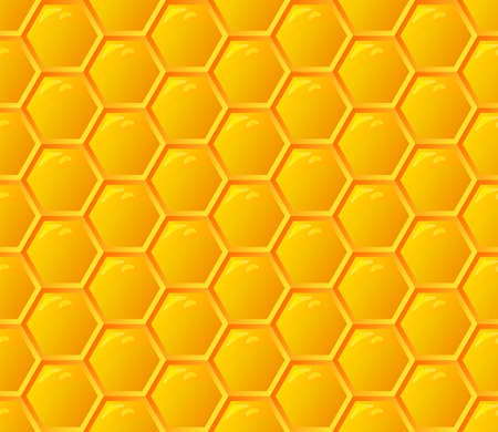 Orange seamless honey combs geometric pattern. Hexagonal texture honeycomb. Honeyed yellow grid. Vector illustration background.