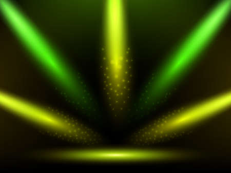 Stage with colorful yellow and green lights. Background. Podium, road, pedestal or platform illuminated by spotlights. Vector
